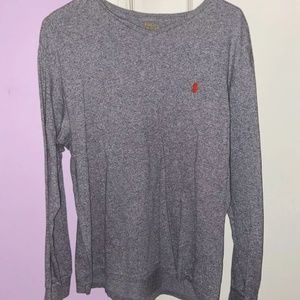 Gray Ralph Lauren Polo Thermal Knit Long Sleeve T